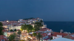 4K+ Timelapse of Night-time Lighting Storm over Pile Gate in Old Town Dubrovnik Stock Footage