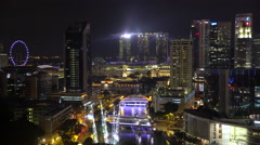 Elevated view over the city skyline and riverside restaurants at the Stock Footage