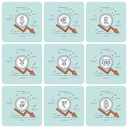 Set of coins and finance graph, currency collapse. Stock Illustration