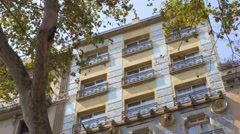 House facade in La Rambla street Stock Footage