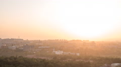 Sunset over the city of Alma Ata. Panorama. Kazakhstan. Time Lapse Stock Footage