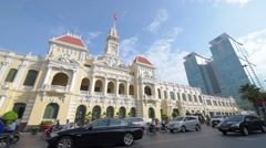 Traffic in front of the City Hall in Ho Chi Minh City (Saigon) Stock Footage