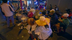 Street food and vietnamese people at night market Stock Footage