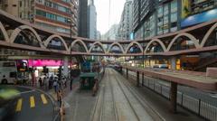 China, Hong Kong, Hong Kong Island, POV trams running between Central and Wan Stock Footage