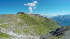 Cycling day on Stelvio Pass in the Alps Stock Footage