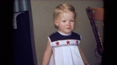 1969: winning girl pretty frock blonde hair poses NEW YORK Stock Footage
