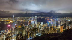 City skyline and Victoria Harbour viewed from Victoria Peak, Hong Kong, China Stock Footage