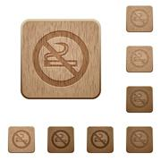 No smoking sign wooden buttons Stock Illustration