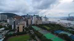 Elevated view, Victoria park and Central district of Hong Kong Island, Hong Stock Footage