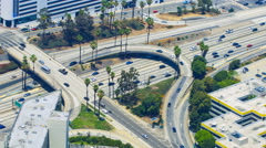 Timelapse Overview of Traffic Jam at Freeway Ramp in Los Angeles -Zoom Out- Stock Footage