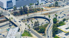 Timelapse Overview of Traffic Jam at Freeway Ramp in Los Angeles -Long Shot- Stock Footage