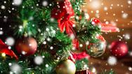 Close up of christmas tree decorated with balls Stock Photos