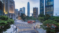 Traffic and people in Central, Hong Kong Island, Hong Kong, China - time lapse Stock Footage