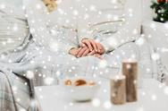 Close up of happy couple at home for christmas Stock Photos