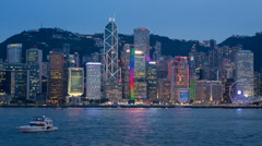 Night View of the famous Hong Kong Skyline seen from the Kowloon Side of the Stock Footage