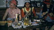 Austria 1970s: carnival party at home Stock Footage