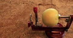Peeling green apple for homemade pie DCI 4K Stock Footage