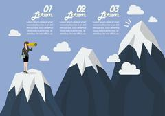 Business woman looking for mountain peak infographic Piirros