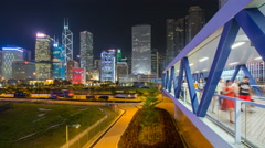 Time lapse of pedestrian walkway leading towards Central, Hong Kong Stock Footage