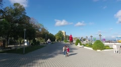 The seafront promenade. Black sea coast, Anapa Stock Footage