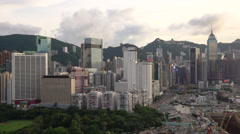 Elevated view, Victoria park and Central district of Hong Kong  Stock Footage