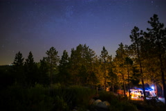 5K MoCo Pan Astro Timelapse of Moonrise over Forest Campground  Stock Footage