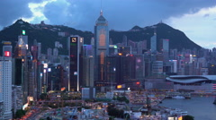 Elevated view, Central district and Victoria Peak, Hong Kong Island, Hong Kong Stock Footage