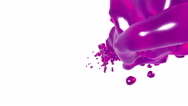 Pink liquid stream on white background.. syrup Stock Footage