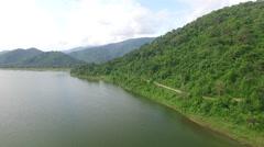 Aerial of Huai Preu Reservoir - Nakhon Nayok, Thailand. Stock Footage