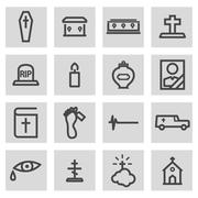 Vector black line funeral icons set Piirros