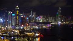 Elevated view, Central district at night, Hong Kong Island, Hong Kong, China Stock Footage