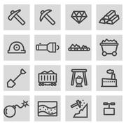 Vector black line mining icons set Stock Illustration