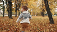 Cute little boy running through the amazing autumn alley in the park slow mo Stock Footage