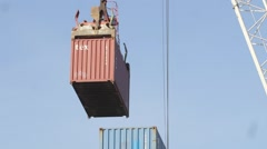 Container and crain Stock Footage