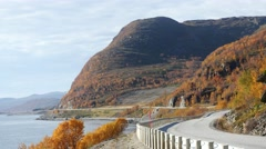 A mountain route and autumn colors Stock Footage