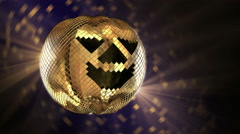 Halloween disco ball with golden reflection and rays. 4K Stock Footage