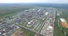 Aerial view of industrial oil refinery plant station. gas industry background Stock Footage