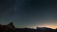 The apparent rotation of the starry sky over the majestic Matterhorn Stock Footage