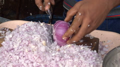 Cutting the onion very quickly Stock Footage