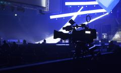 Tv camera in a concert hall Stock Photos