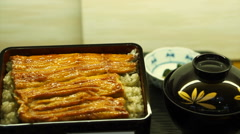 Unagi don, Japanese premium dish marinated grilled sea eel on top of rice Stock Footage