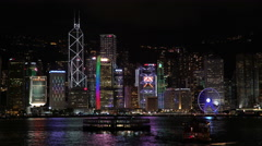Night View of the famous Hong Kong Skyline seen from Kowloon  Stock Footage