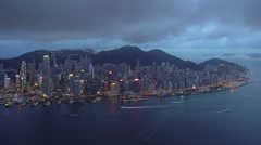 Elevated view, Harbour and Central district of Hong Kong Island  Stock Footage