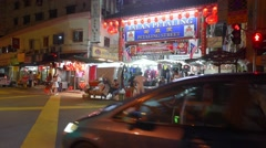 View of main gate of Chinatown at Jalan Petaling Street at night Stock Footage