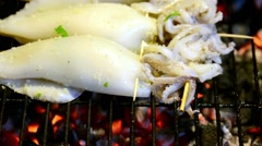 Grilled fresh squid Stock Footage