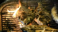 Bream fish fresh barbecued Stock Footage