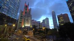 Traffic and people in Central, Hong Kong Island, Hong Kong, China Stock Footage