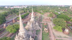 Aerial view of ancient temple in Ayutthaya, Thailand. Stock Footage