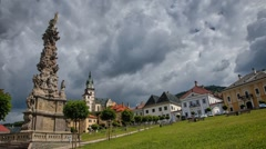 Timelapse of a cloudy day in Kremnica, Slovakia. Historical old town in central Stock Footage