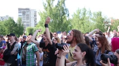 Spectators at festival during Day of Russia holiday Stock Footage
